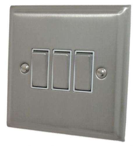 G&H DSN203 Deco Plate Satin Nickel 3 Gang 1 or 2 Way Rocker Light Switch
